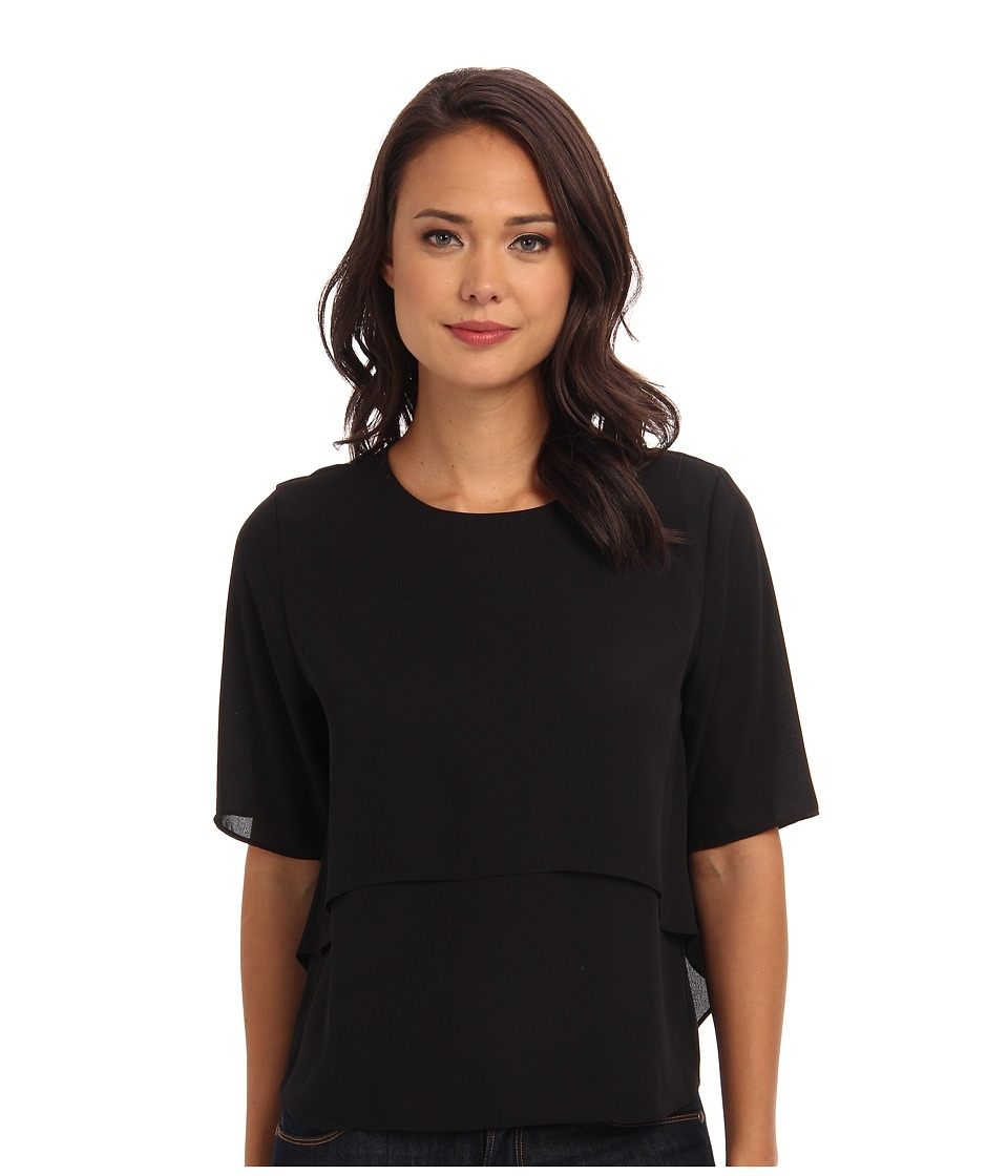 Tbags Los Angeles - S/S Woven Layered Blouse (Onyx) Women's Blouse