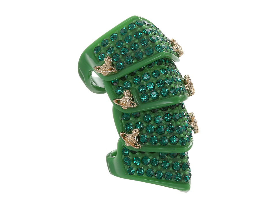 Vivienne Westwood - Resin Pave Armour Ring (Green/Gold) Ring
