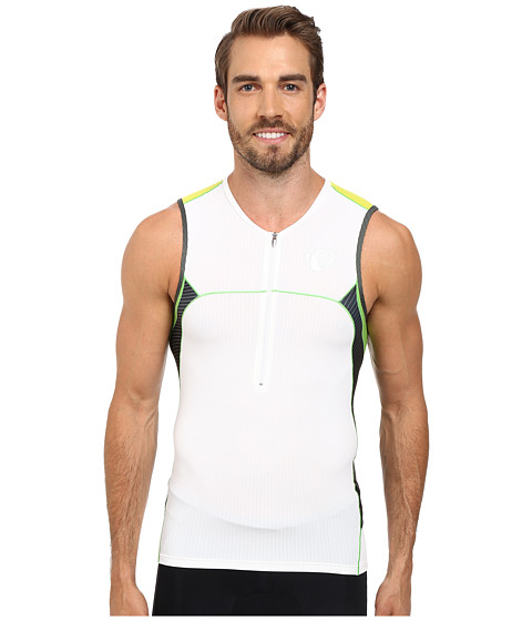 Pearl Izumi - ELITE In-R-Cool Tri S/L Jersey (White/Green Flash) Men's Sleeveless