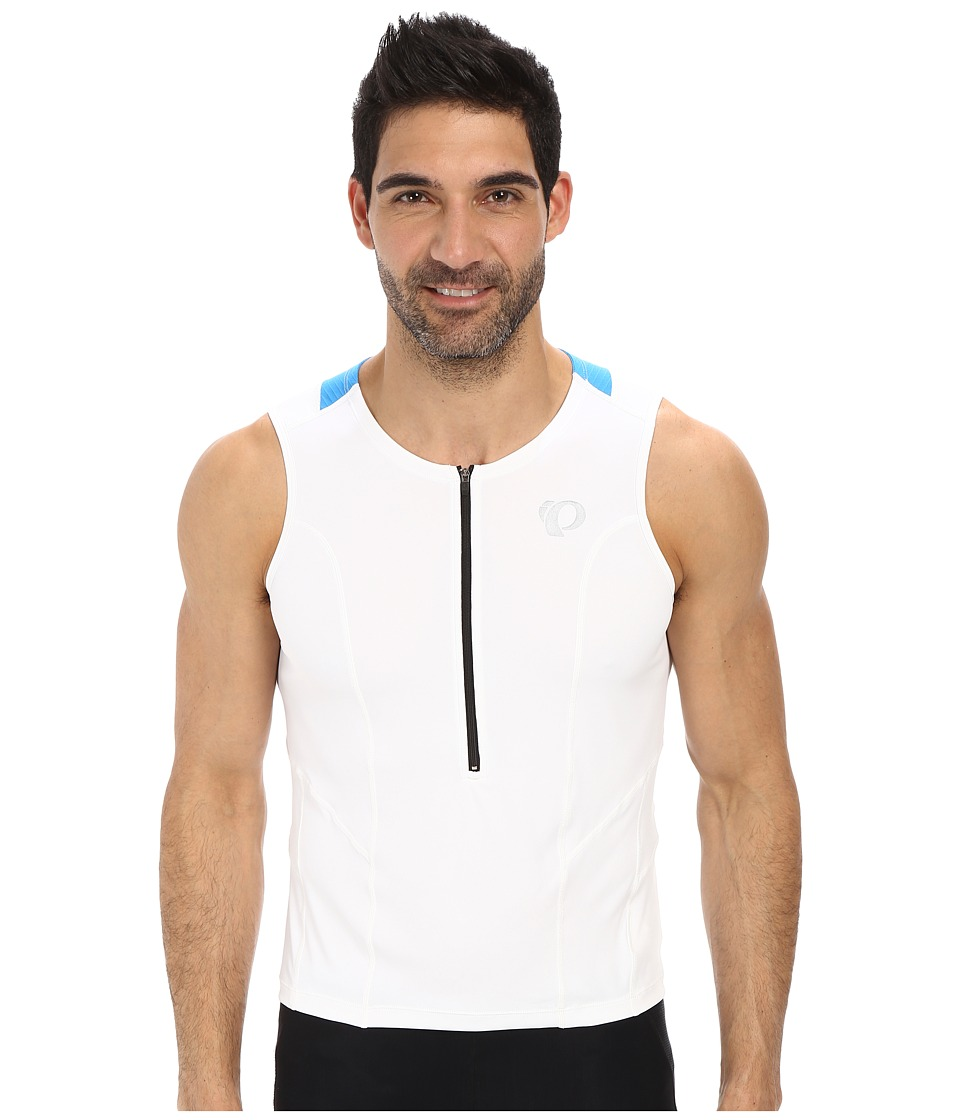 Pearl Izumi - SELECT Tri Relaxed SL Jersey (White/Brilliant Blue) Men's Sleeveless