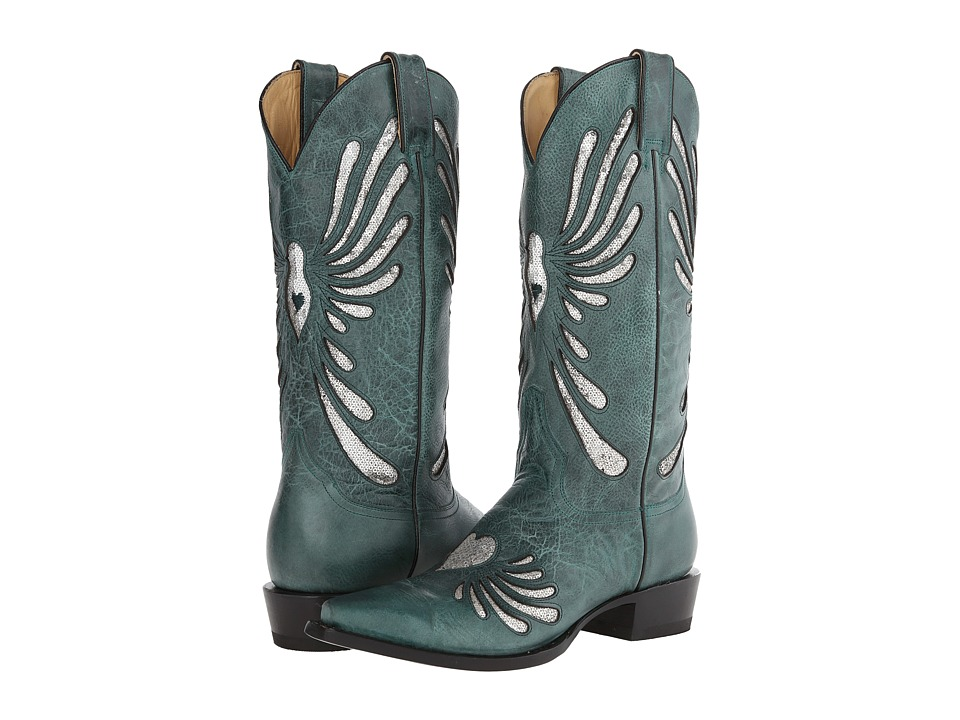 Stetson - Sequin Heart Underlay Snip Toe Boot (Turquoise) Cowboy Boots