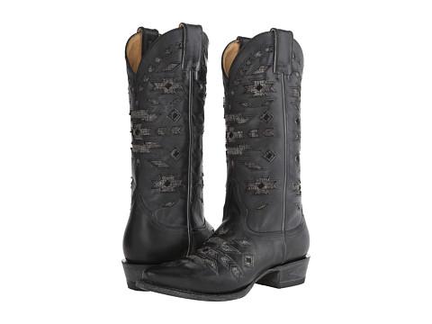 Stetson - Southwest Cutout Jute Underlay Snip Toe Boot (Black) Cowboy Boots