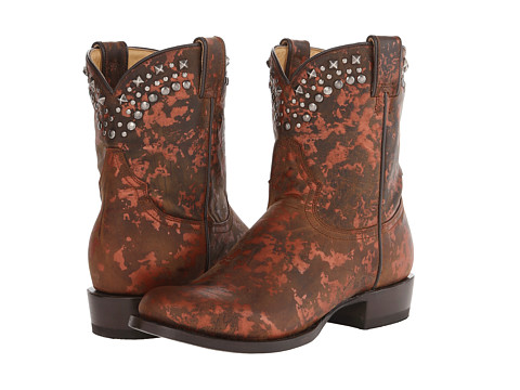 Stetson - Metallic Splatter Round Toe Ankle Boot (Brown) Cowboy Boots