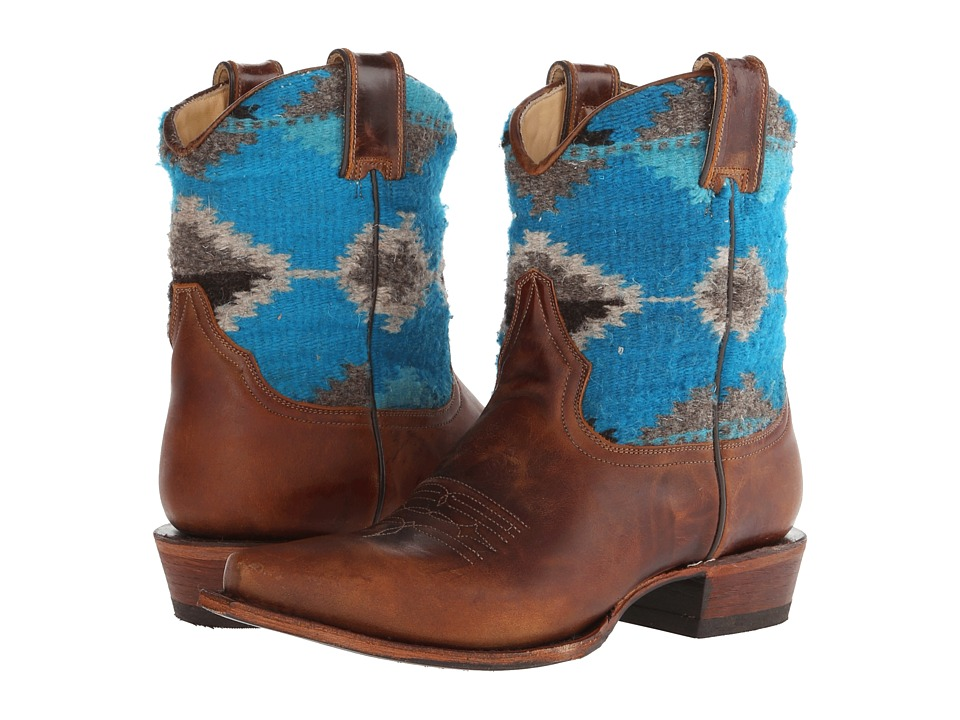 Stetson - Serape Snip Toe Ankle Boot (Brown) Cowboy Boots