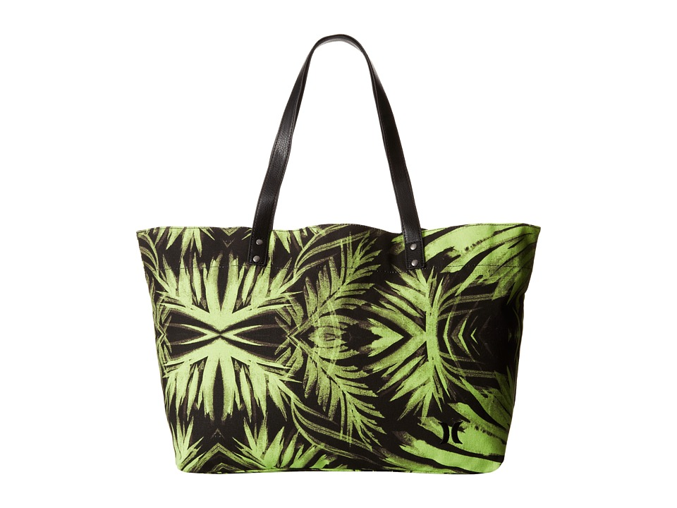 Hurley - Tomboy Beach Tote (Flash Lime Palm) Tote Handbags