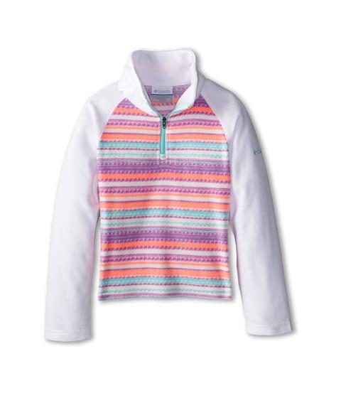 Columbia Kids - Glacial II Fleece Print Half Zip (Little Kids/Big Kids) (Candy Mint Stripe/White) Girl
