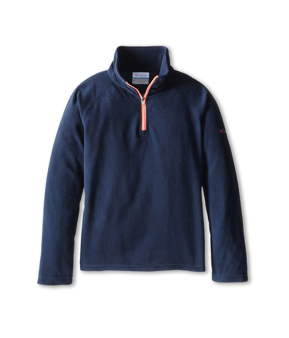 Columbia Kids - Glacial Fleece Half Zip (Little Kids/Big Kids) (Collegiate Navy/Coral Glow) Girl's Fleece