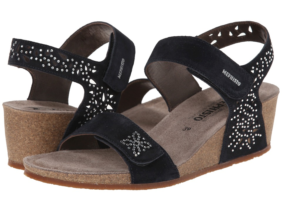Mephisto - Marie Sparkling (Blue Suede) Women's Sandals