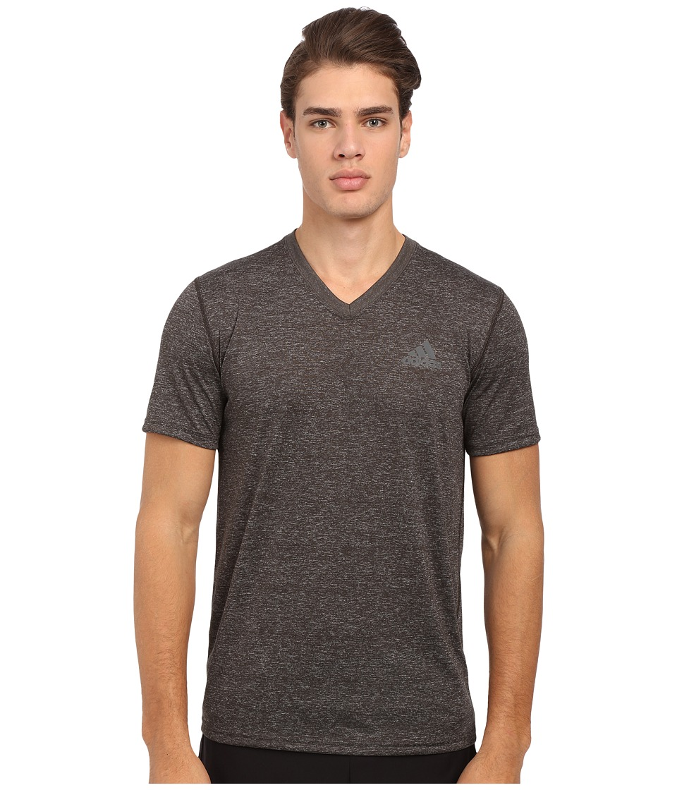 adidas - Ultimate S/S V-Neck Tee (Dark Grey Heather/ DGH Solid Grey) Men's T Shirt