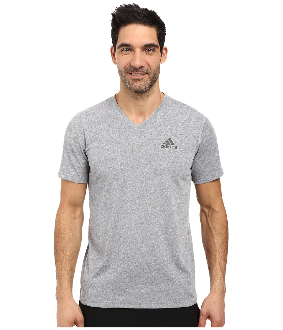 adidas - Ultimate S/S V-Neck Tee (Medium Grey Heather/DGH Solid Grey) Men's T Shirt