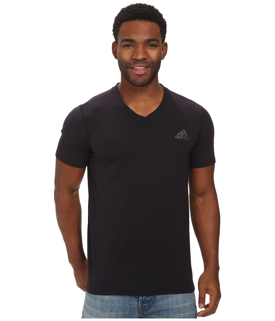 adidas - Ultimate S/S V-Neck Tee (Black/DGH Solid Grey) Men's T Shirt