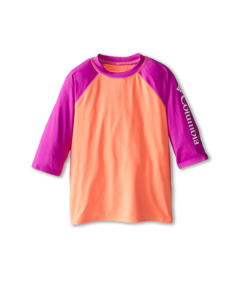 Columbia Kids - Mini Breaker II S/S Sunguard Top (Little Kids/Big Kids) (Coral Glow/Foxglove/White) Girl