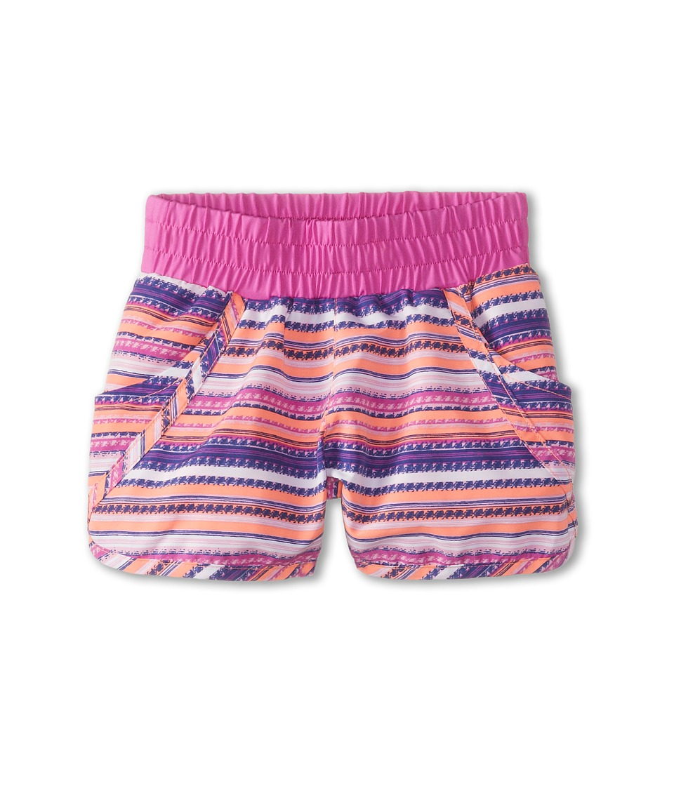 Columbia Kids - Solar Stream II Boardshort (Little Kids/Big Kids) (Coral Glow Stripe/Foxglove) Girl's Swimwear