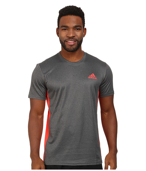 adidas - Climacore S/S Tee (Dark Grey Heather/Bright Red) Men