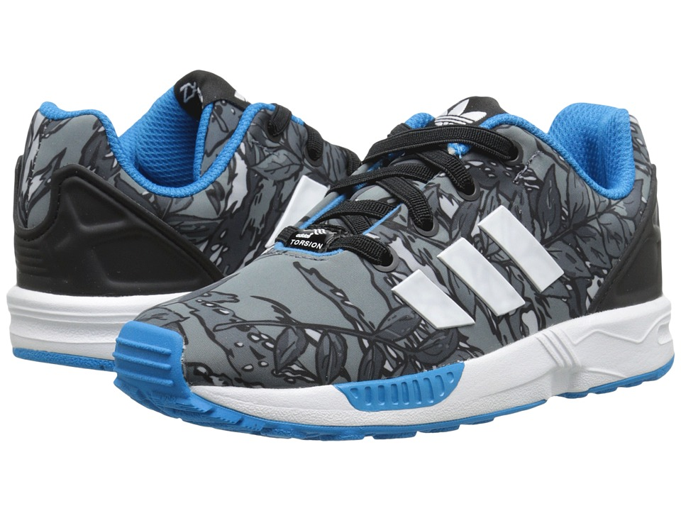 adidas Originals Kids ZX Flux EL (Toddler) (Black/White/Solar Blue) Boys Shoes