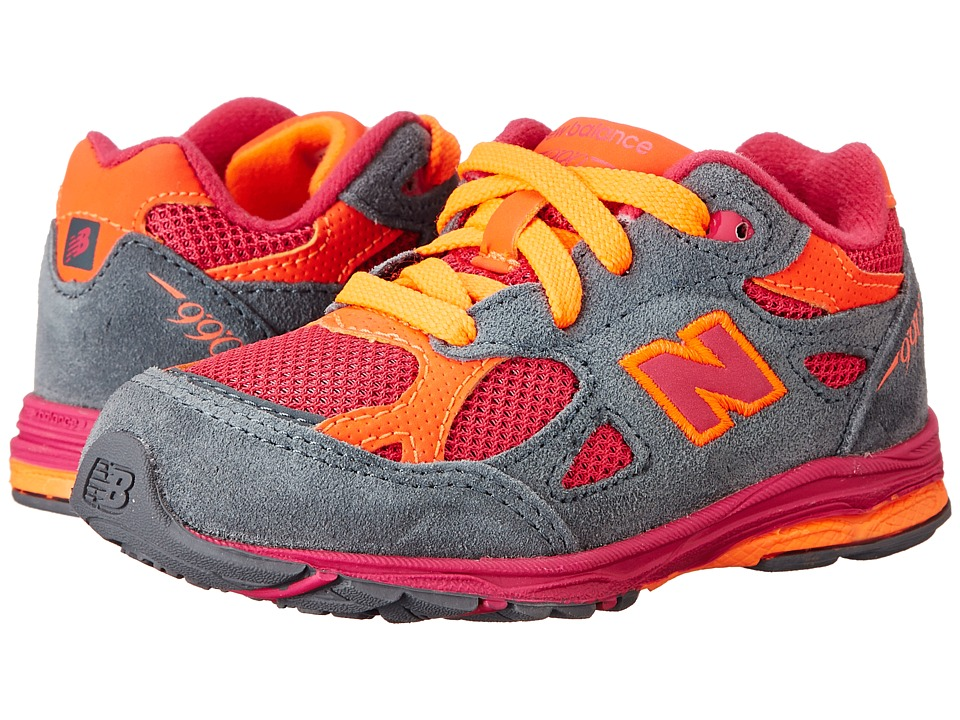 New Balance Kids - 990v3 (Infant/Toddler) (Grey/Pink/Orange) Girls Shoes