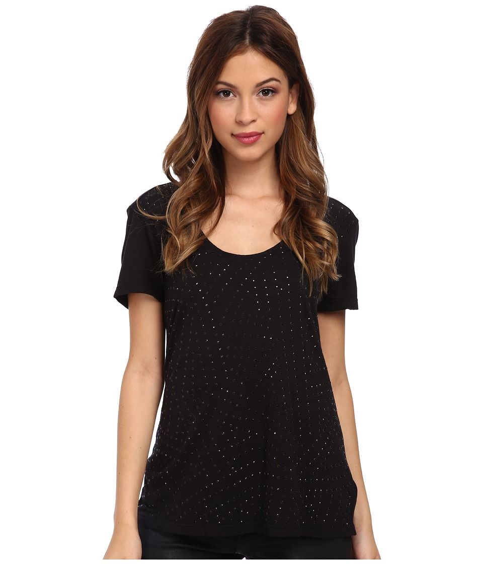 Velvet by Graham & Spencer - Felicity02 Studded Top (Black) Women's Short Sleeve Pullover