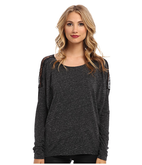 Velvet by Graham & Spencer - Sharna02 L/S Tee w/ Lace (Charcoal) Women