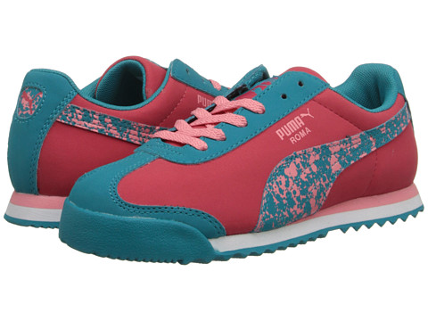 Puma Kids - Roma Splatter Jr (Little Kid/Big Kid) (Geranium/Capri Breeze/Salmon Rose) Girls Shoes