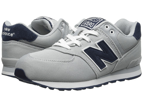 New Balance Kids - KL574 (Big Kid) (Grey/Navy) Boys Shoes