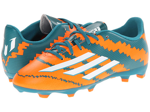 adidas Kids - Messi 10.3 FG J (Little Kid/Big Kid) (Power Teal/White/Solar Orange) Kids Shoes