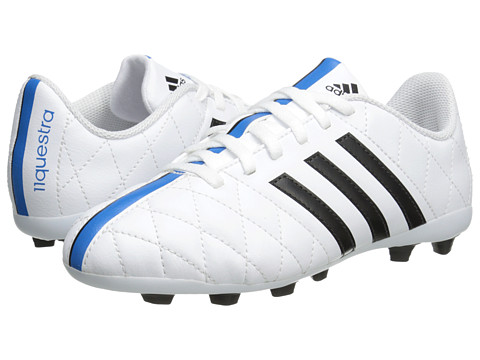 adidas Kids - 11Questra FxG J (Little Kid/Big Kid) (White/Black/Solar Blue) Kids Shoes