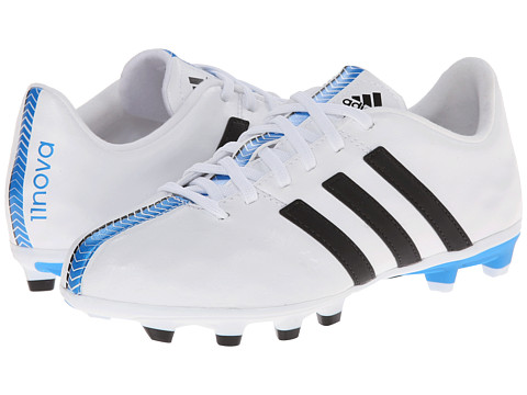 adidas Kids - 11Nova FG J (Little Kid/Big Kid) (White/Black/Solar Blue) Kids Shoes