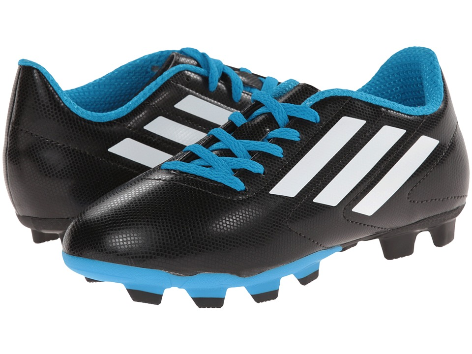 adidas Kids - Conquisto FG J Soccer (Little Kid/Big Kid) (Black/White/Solar Blue) Kids Shoes