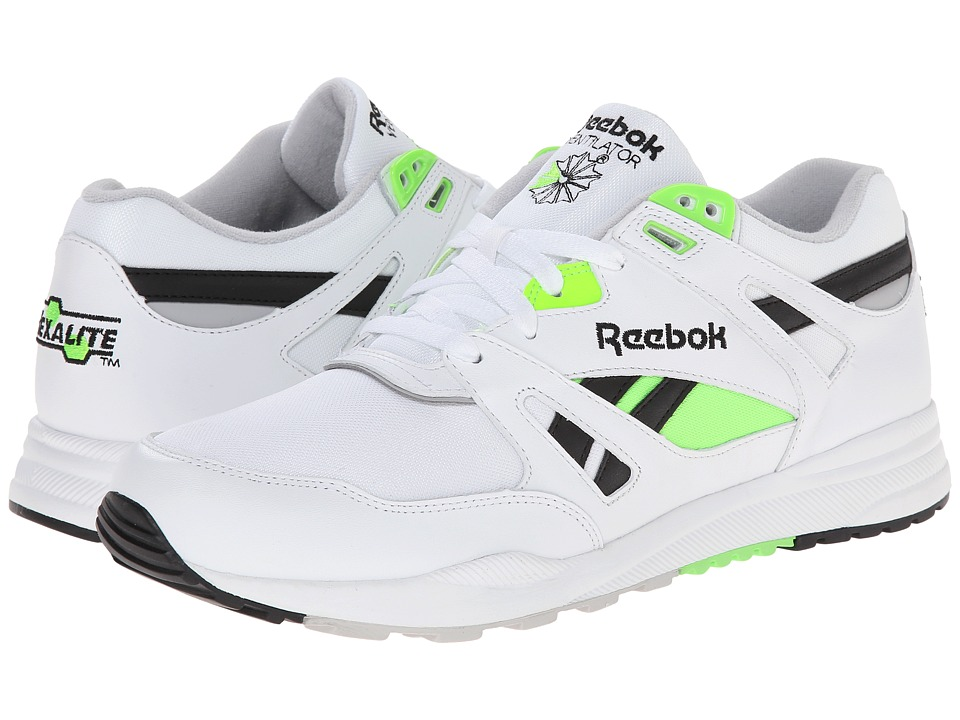Reebok - Ventilator Pop (White/Black/Steel/Solar Green) Men's Classic Shoes