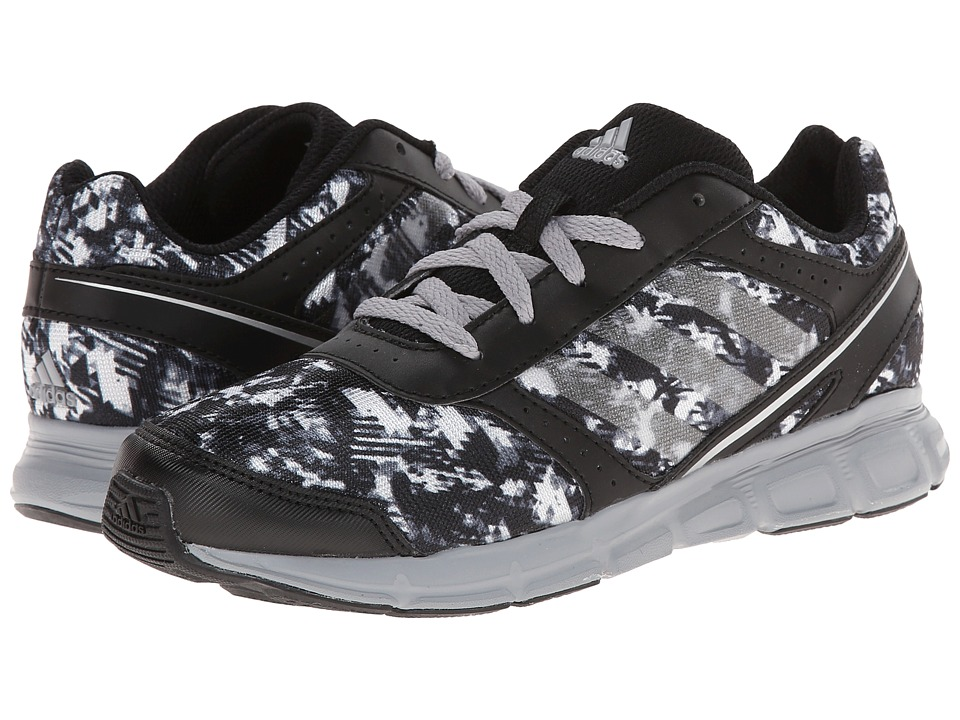 adidas Kids - Hyperfast K - Print (Little Kid/Big Kid) (Black/Mid Grey/Silver Metallic) Boys Shoes