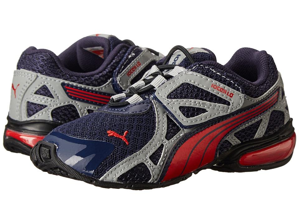 Puma Kids - Voltaic 5 (Toddler/Little Kid/Big Kid) (Peacoat/Nasturtium/Limestone Grey) Boys Shoes