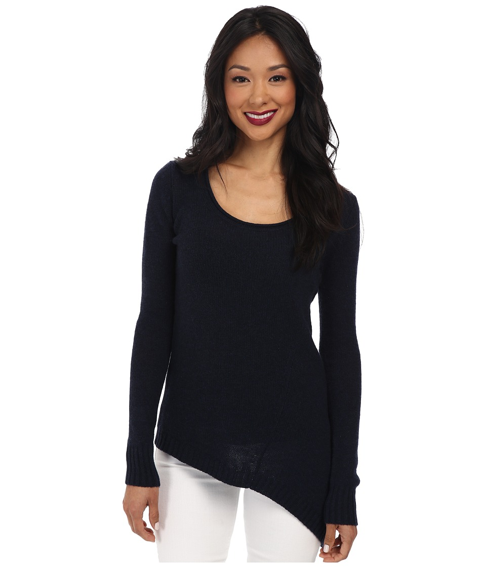 Image of Autumn Cashmere - Asymmetric Scoop Neck (Navy) Women's Sweater