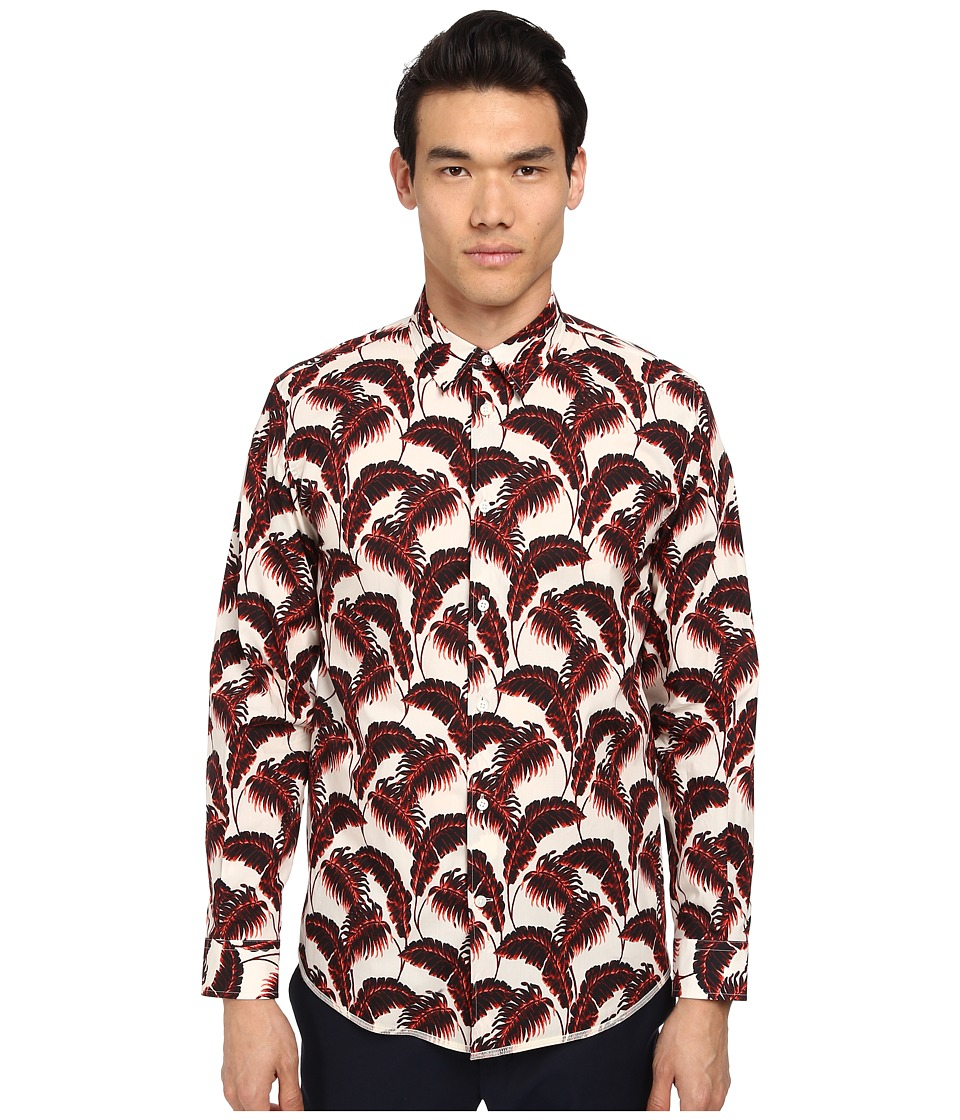 Marc Jacobs - Slim Fit Palm Beach Print L/S Button Up (Whitesand) Men's Long Sleeve Button Up
