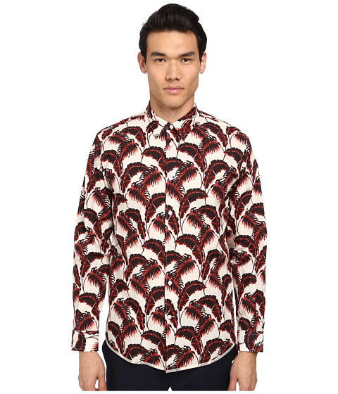 Marc Jacobs - Slim Fit Palm Beach Print L/S Button Up (Whitesand) Men