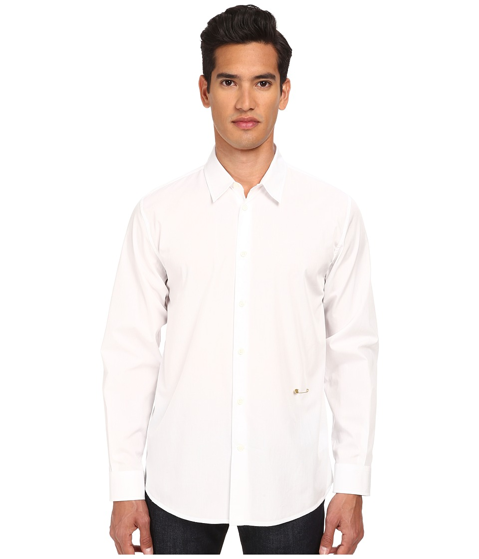 Marc Jacobs - Slim Fit Comfort Poplin L/S Button Up (White) Men's Long Sleeve Button Up