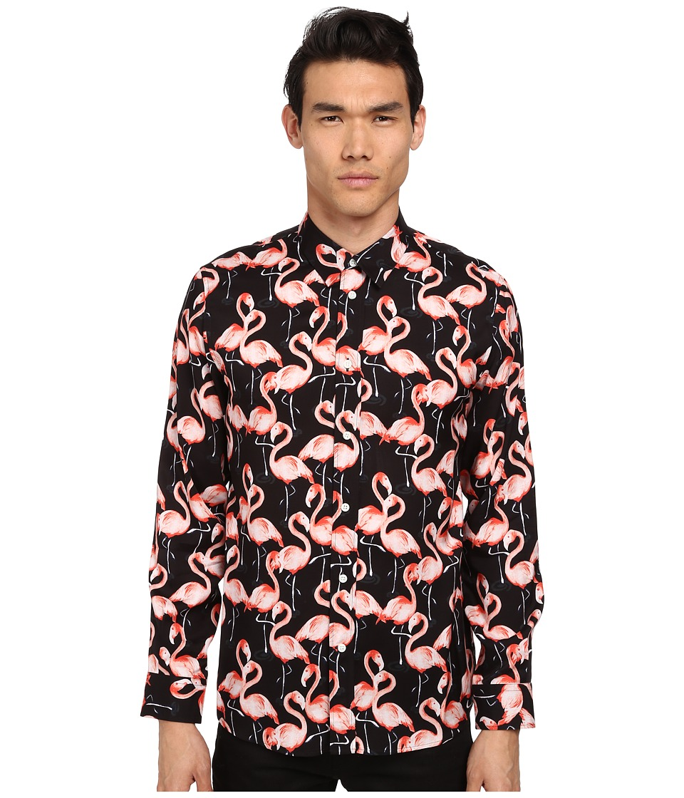 Marc Jacobs - Slim Fit Flamingo Summer Silk Twill L/S Button Up (Asphalt) Men's Long Sleeve Button Up