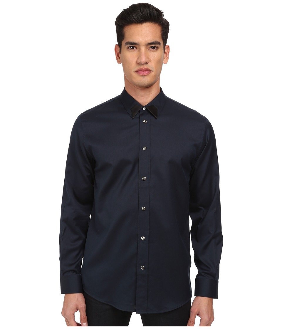 Marc Jacobs - Slim Fit Speckled L/S Button Up (Midnight) Men's Long Sleeve Button Up