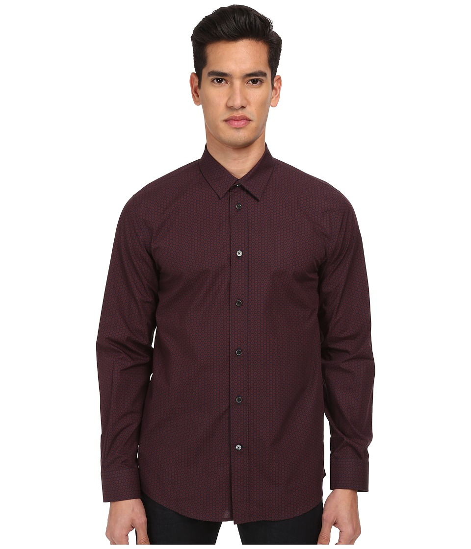 Marc Jacobs - Slim Fit Foulard Floral Poplin L/S Button Up (Cassis) Men's Long Sleeve Button Up