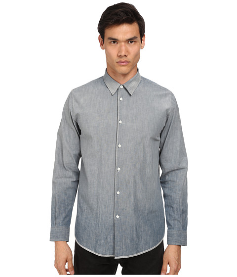 Marc Jacobs - Slim Fit Sunbleached Chambray L/S Button Up (Medium Wash) Men's Long Sleeve Button Up