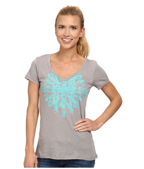Columbia - Out and About Graphic V-Neck Tee (Light Grey Heather) Women