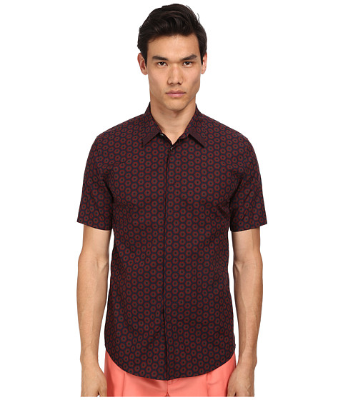 Marc Jacobs - Slim Fit Dot Floral S/S Button Up (Cassis) Men