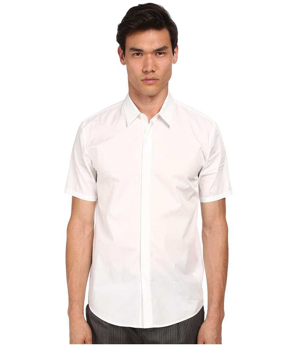 Marc Jacobs - Slim Fit Comfort Poplin S/S Button Up (White) Men