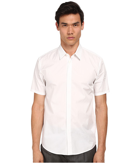 Marc Jacobs - Slim Fit Comfort Poplin S/S Button Up (White) Men's Short Sleeve Button Up