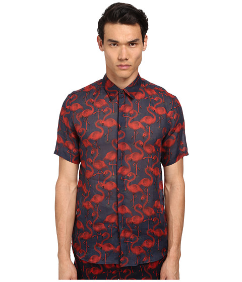 Marc Jacobs - Slim Fit Flamingo Print S/S Button Up (Cassis) Men's Short Sleeve Button Up