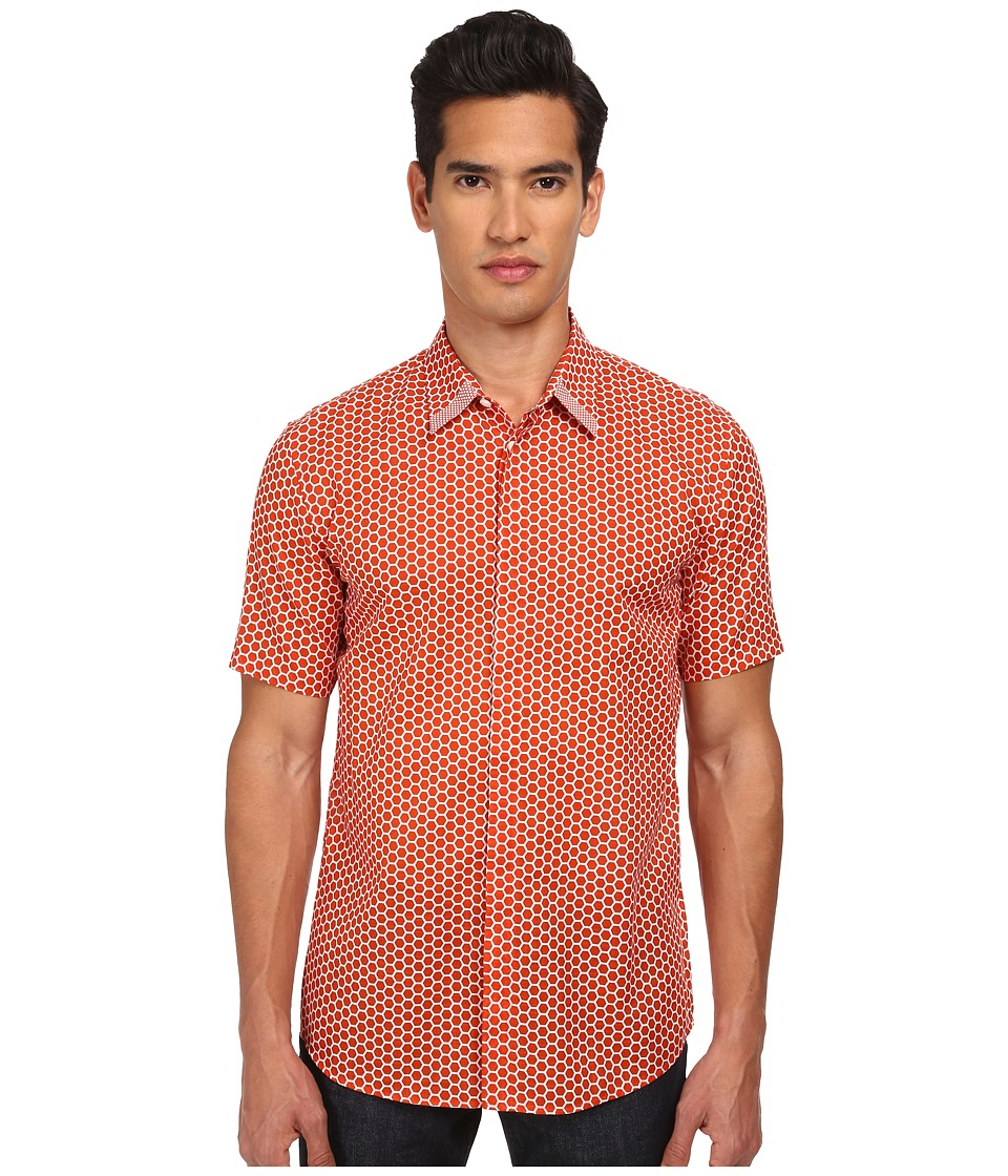 Marc Jacobs - Slim Fit Large Honeycomb Print S/S Button Up (Berry Red) Men's Short Sleeve Button Up