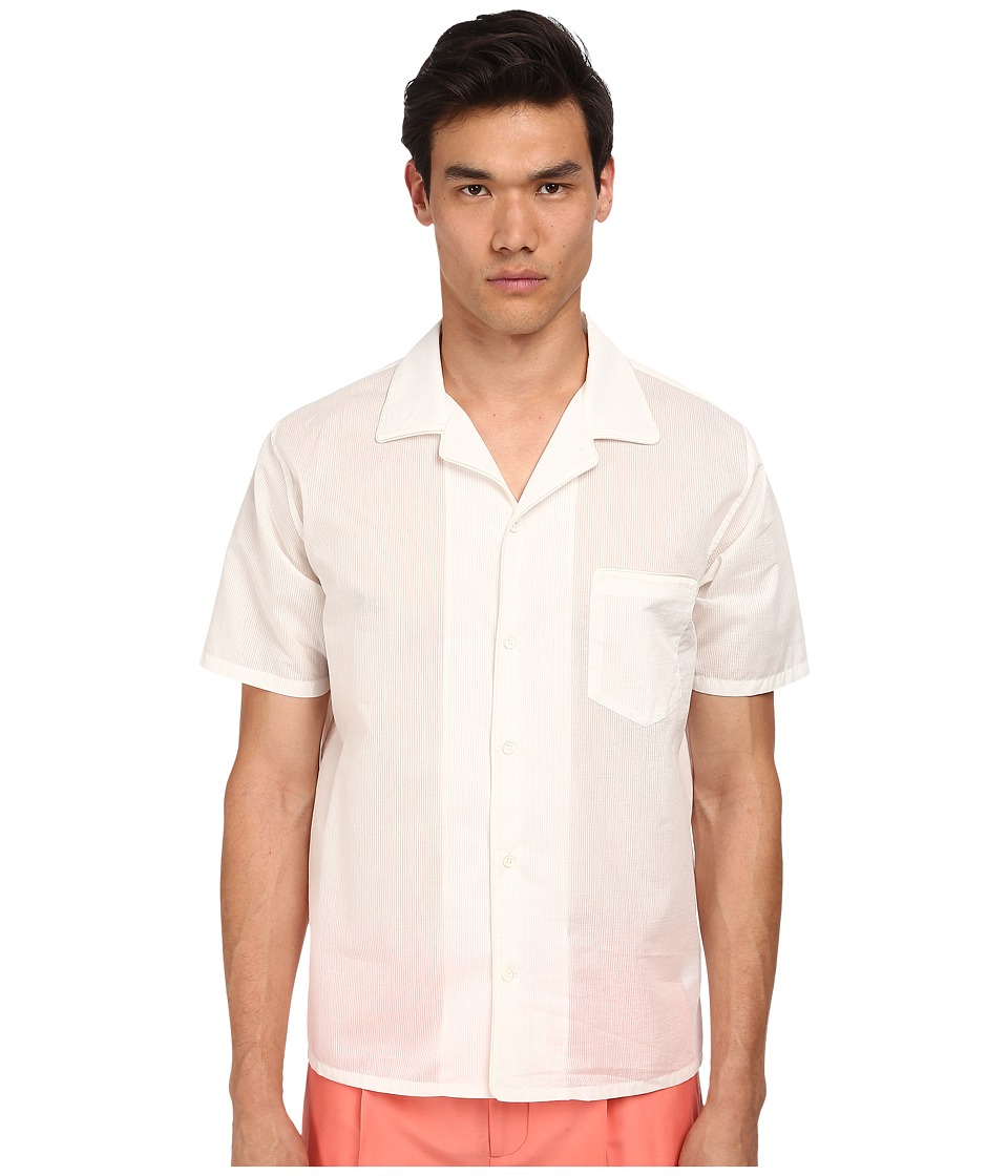 Marc Jacobs - Regular Fit Sandy Stripe S/S Button Up (Ivory) Men's Short Sleeve Button Up