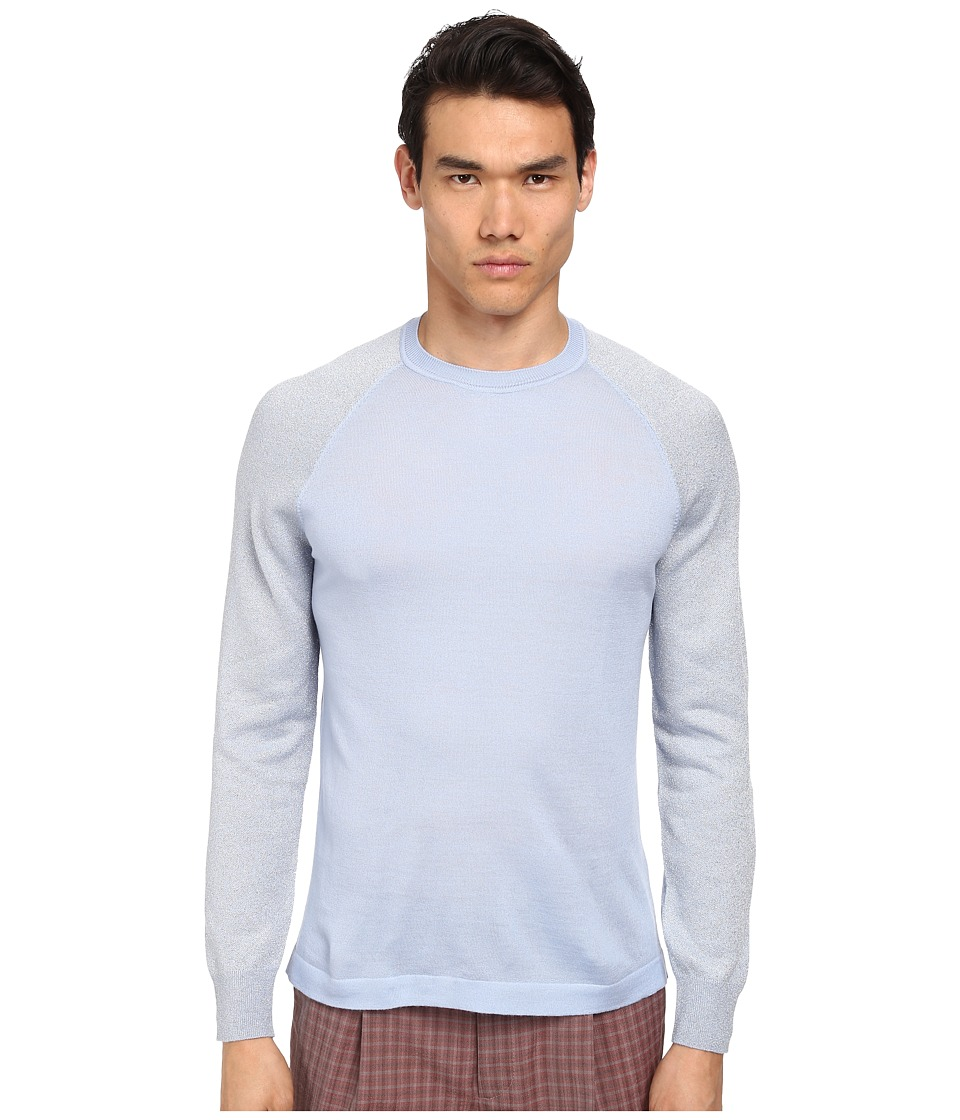 Marc Jacobs - Merino Lurex Raglan Sleeve Sweater (Blue Sky) Men's Long Sleeve Pullover