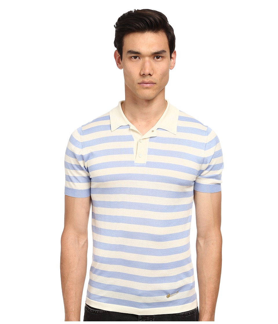 Marc Jacobs - Yarn Dyed Striped S/S Polo (Blue Sky) Men's Sweater