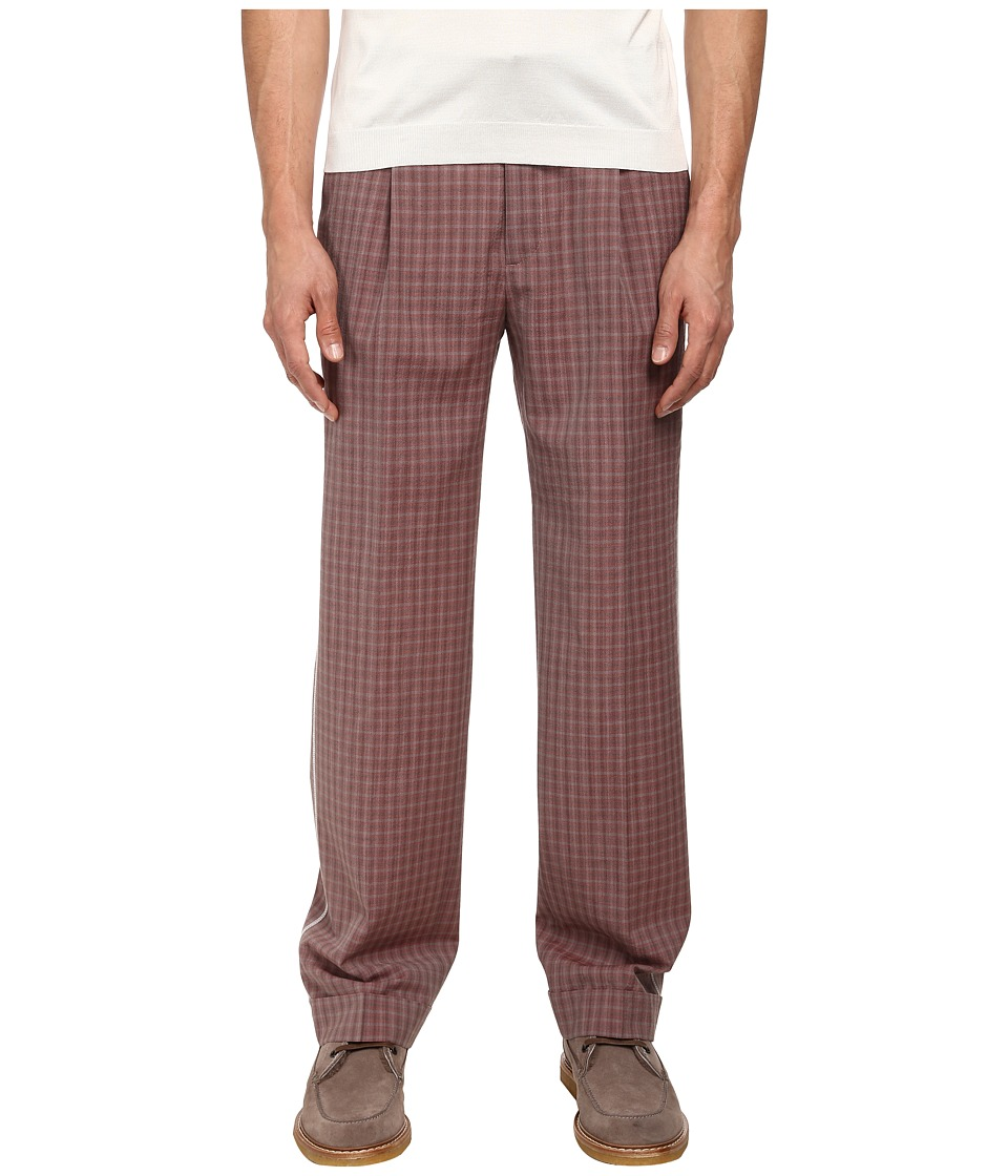 Marc Jacobs - Textured Tom Check Cuffed Pant (Berry Red Multi) Men