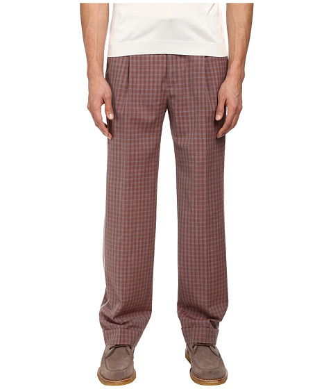Marc Jacobs - Textured Tom Check Cuffed Pant (Berry Red Multi) Men's Casual Pants